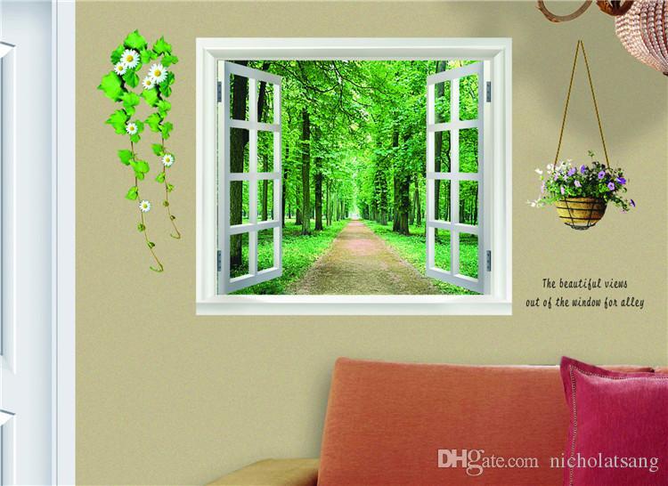 Envío gratis Green Fake Windoura Flores Figura Figura Alameda Pegatinas de pared Sala de estar 60 * 90 cm Vinilo de pared Decoración del hogar