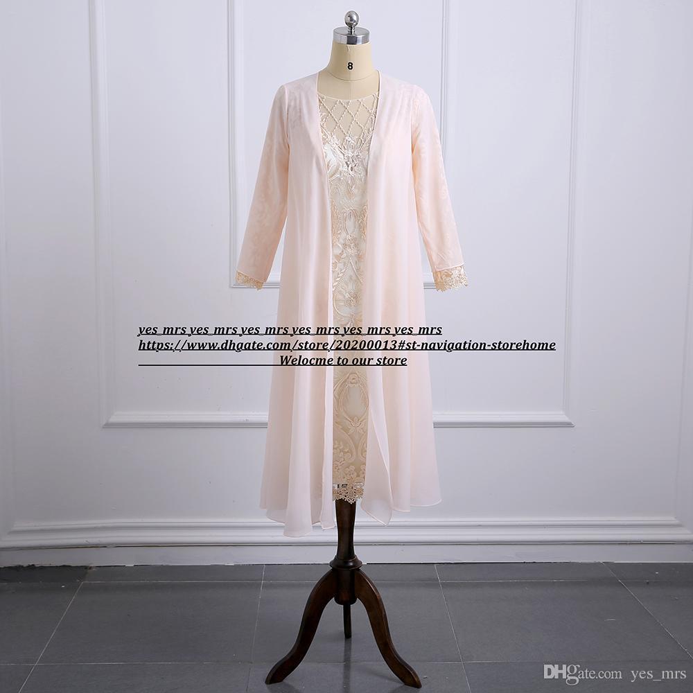 Кружева шампанского длиной до колен Платья для мамы невесты с аппликациями куртки Плюс размер с длинным рукавом свадебное платье для гостей Формальные вечерние платья