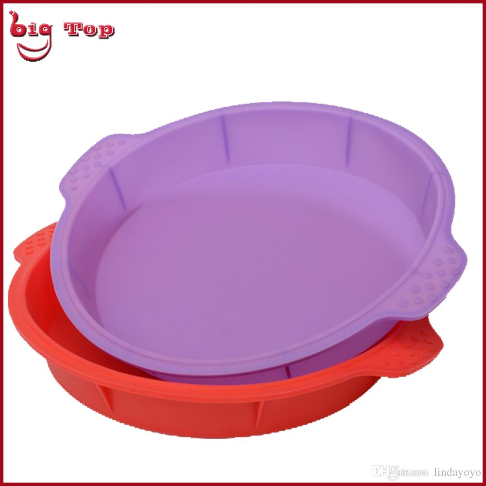 Bt0130 New 12 Inch Round Shape Silicone Cake Mold Big Size Large Pan Fancy Bakeware With Handle
