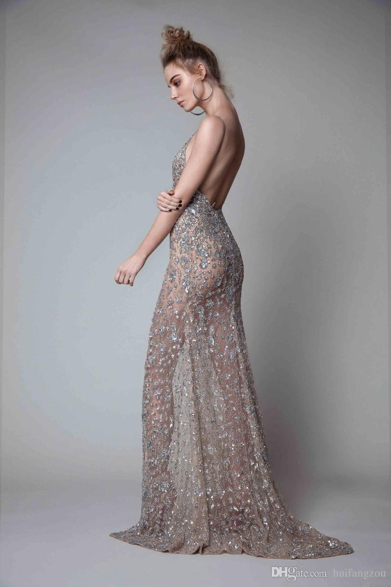 Berta Front Split Evening Dresses Rhinestones Sleeveless Plunging Neckline Prom Dress Backless Floor Length Formal Evening Gowns