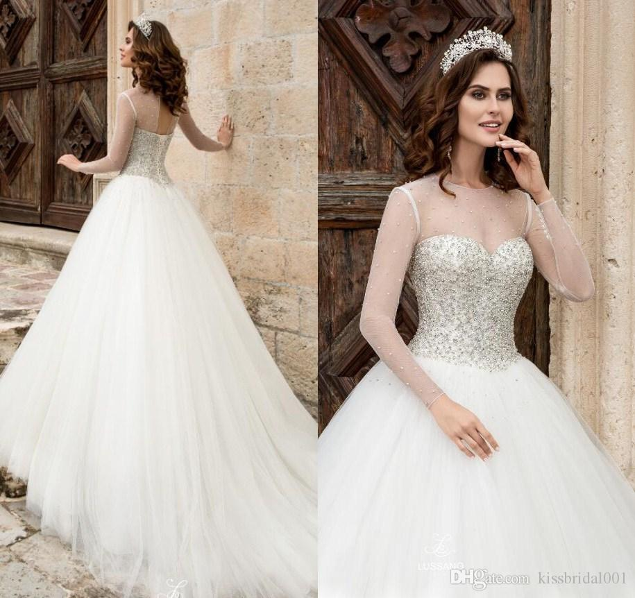 Princess Ball Gown Crystal Wedding Dresses Pure Ivory Long Sleeves Key Hole Lace Up Pearls Bodic Arabic Bridal Gowns