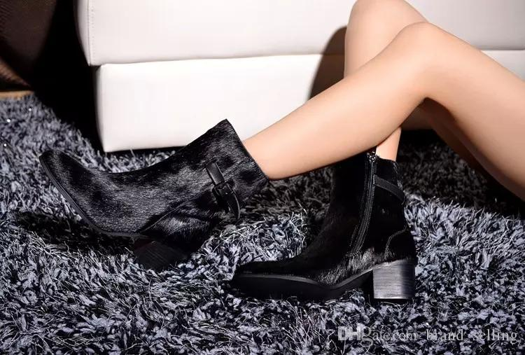 2017 Brand Fashion Winter Martain Horsehair Leather Ankle Boots Female Cowboy Fashion Fur Boots Pointed Toe Decorated Strap Buckle Winter S
