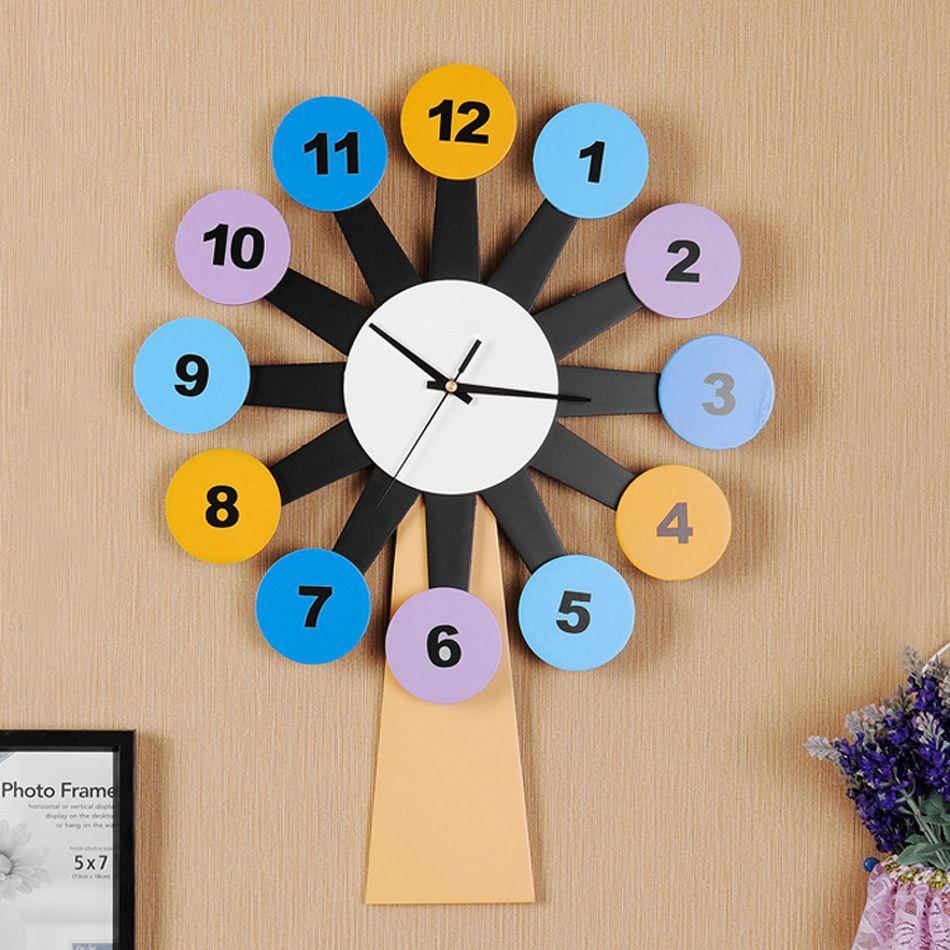Kingart Child Digital Wooden Wall Clock Decorative Kids Room Cartoon ...