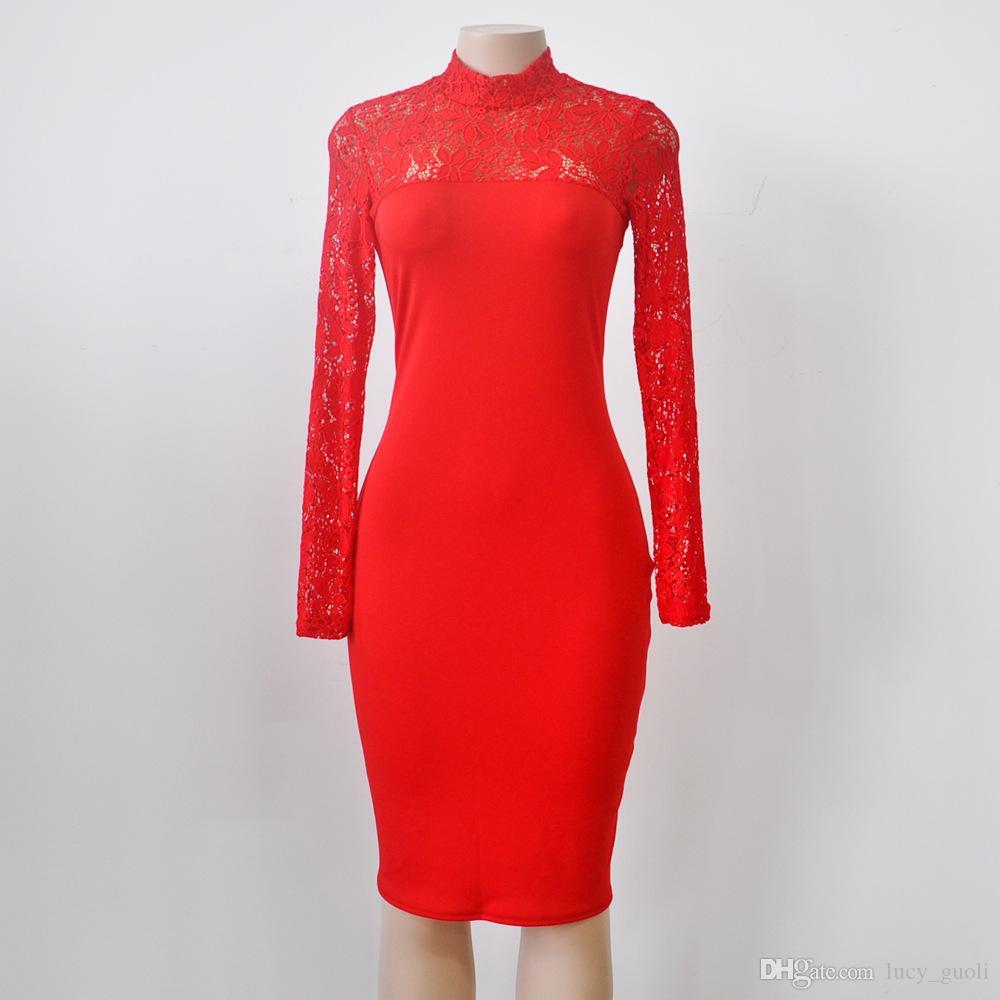 새로운 Bodycon Peplum 꽃 레이스 드레스 Floral Vestidos Turtleneck 섹시한 긴 소매 이브닝 드레스 복장 플러스 사이즈 블랙 화이트 레드 블루