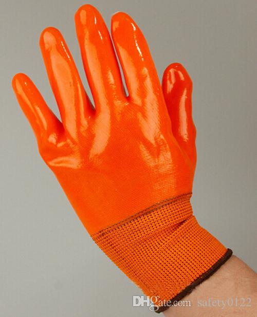 Full Coating PVC Glove Nylon Lined Workplace Protective Worker Glove For Gas Station Carrier Safety Glove
