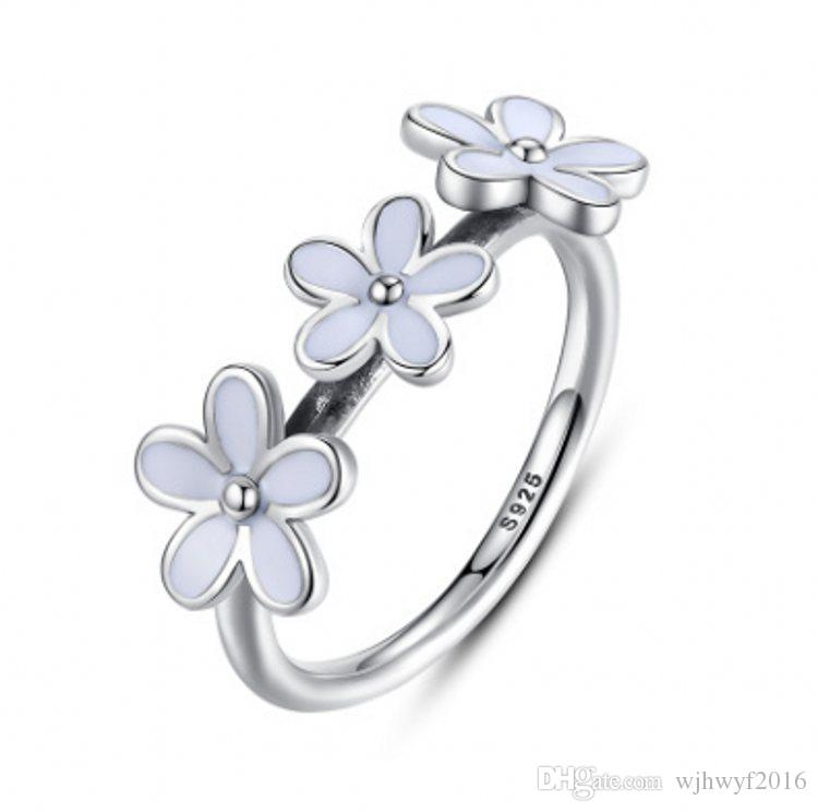 a2cfe46a6 2017 Summer New 925 Sterling Silver Jewelry Three Daisy Rings With ...