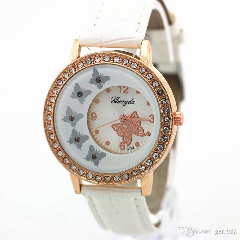 !PVC leather band,gold case with crystal circle,butterfly UP dial,quartz movement,Gerryda fashion woman lady leather watch,787