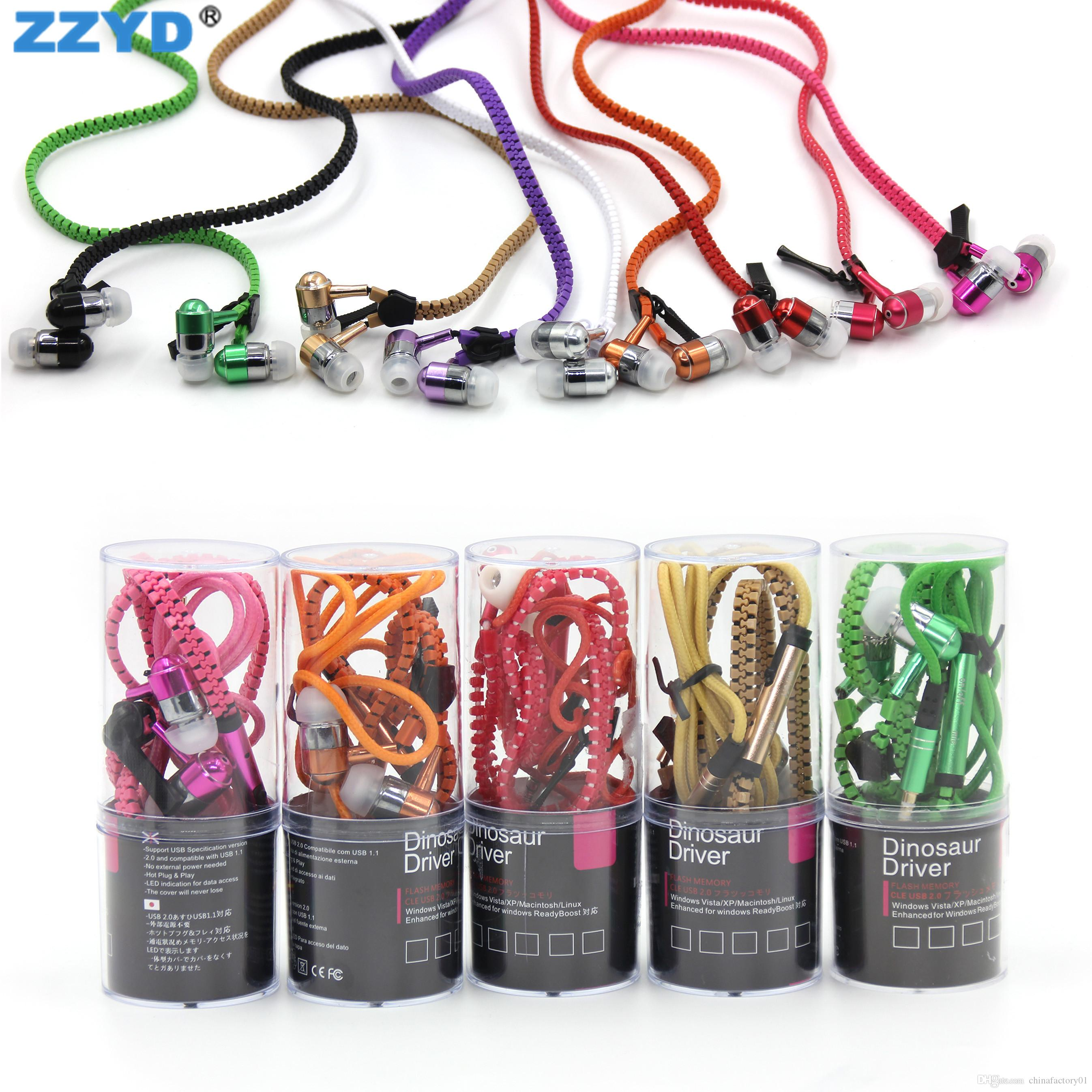 Universal Zipper Earbuds 3 5mm headphone Hot Sale Earphone With Mic Cheap  Headset With Barrels Package