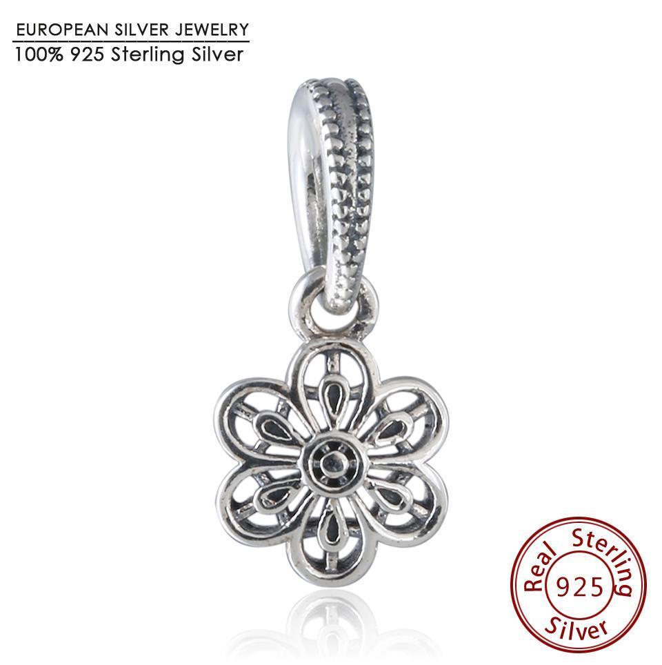 925 Sterling Silver Daisy Sun Flower Dangle Bead For European Charm Bracelets Tx5JOnB