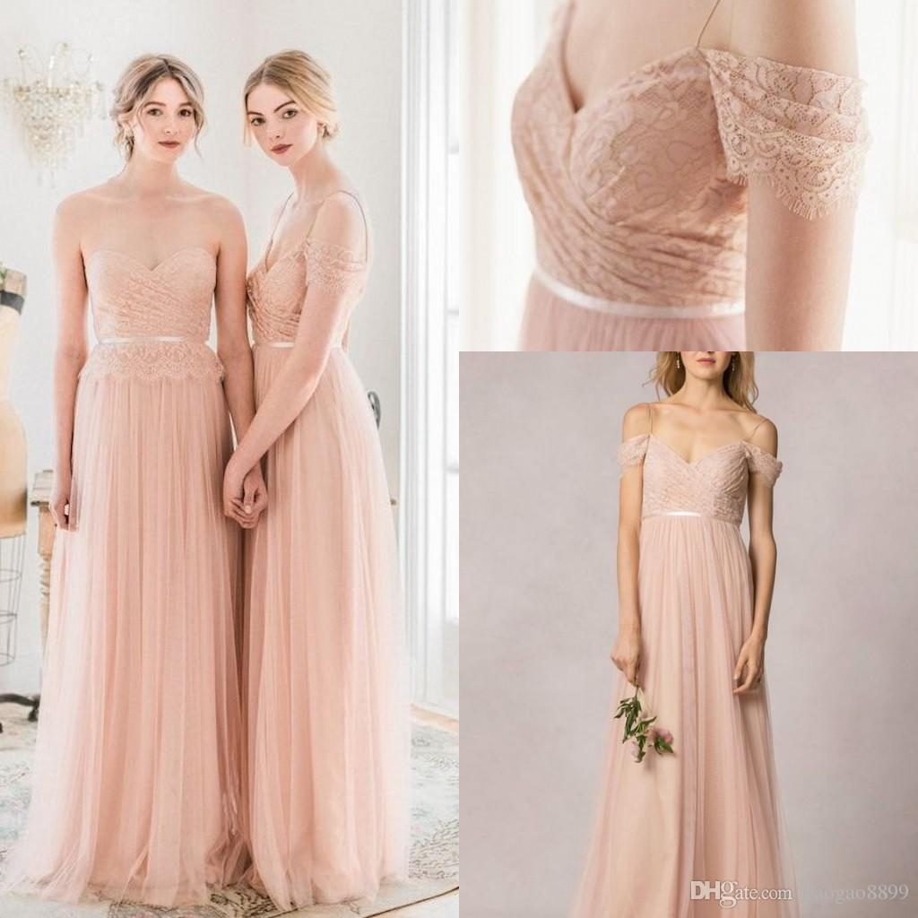 2016 jenny yoo blush lace tulle boho beach off shoulder long 2016 jenny yoo blush lace tulle boho beach off shoulder long bridesmaid dresses v neck full length cheap maid of honor wedding guest gown wedding dresses ombrellifo Choice Image