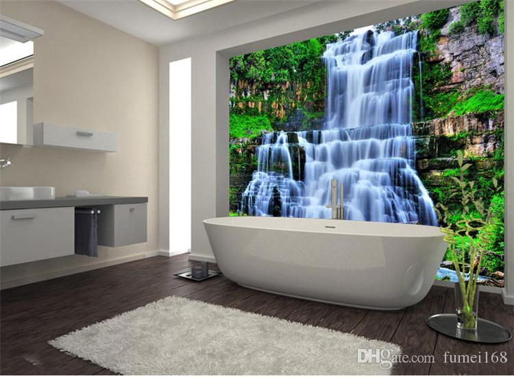 Vasche Da Bagno Water : Acquista grande 3d cliff water falls shower vasca da bagno art wall