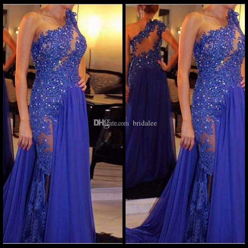 섹시 로얄 블루 아플리케 긴 이브닝 드레스 2016 shining 페르시 한 어깨 쉬폰 정식 드레스 저녁 가운 로브 드 Soiree