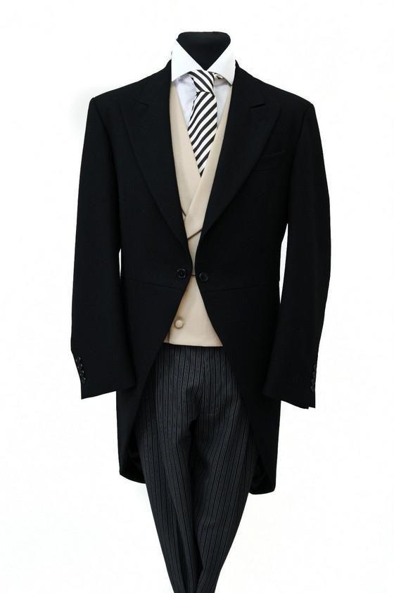 Custom Made New Smoking dello sposo Nero HERRINGBONE MORNING TAIL COAT MENS FORMAL ASCOT TAILS SUIT WEDDING giacca + gilet