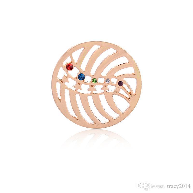 Brand New Pendants Collane monete Placcato in oro Round 33mm monete cave Ginger Intercambiabili in forma flangia medaglione pendenti in vetro