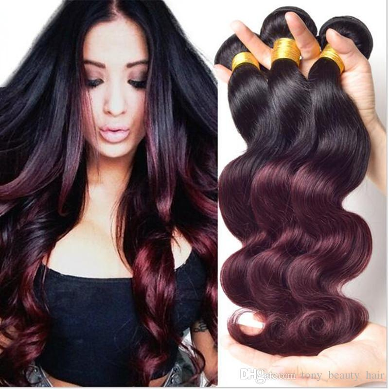 3 Bundles Lot Cheap Human Hair Weave Ombre Hair Extensions Two Tone Color 1B/99j Burgundy Red Wine Ombre Indian Body Wave Hair
