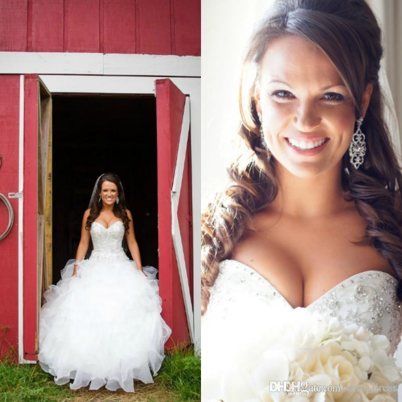 2016 Bling Sweetheart Ball Gown Organza Country Western Style Wedding Dress Bridal Gown crystal beaded Real Bridal Gowns Lace Up On Back