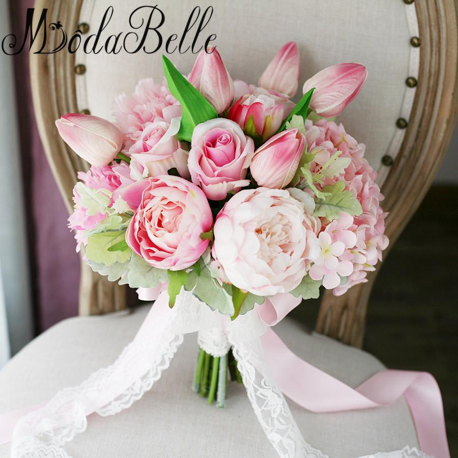 2018 New Light Pink Artificial Flowers Wedding Bouquet For Bride