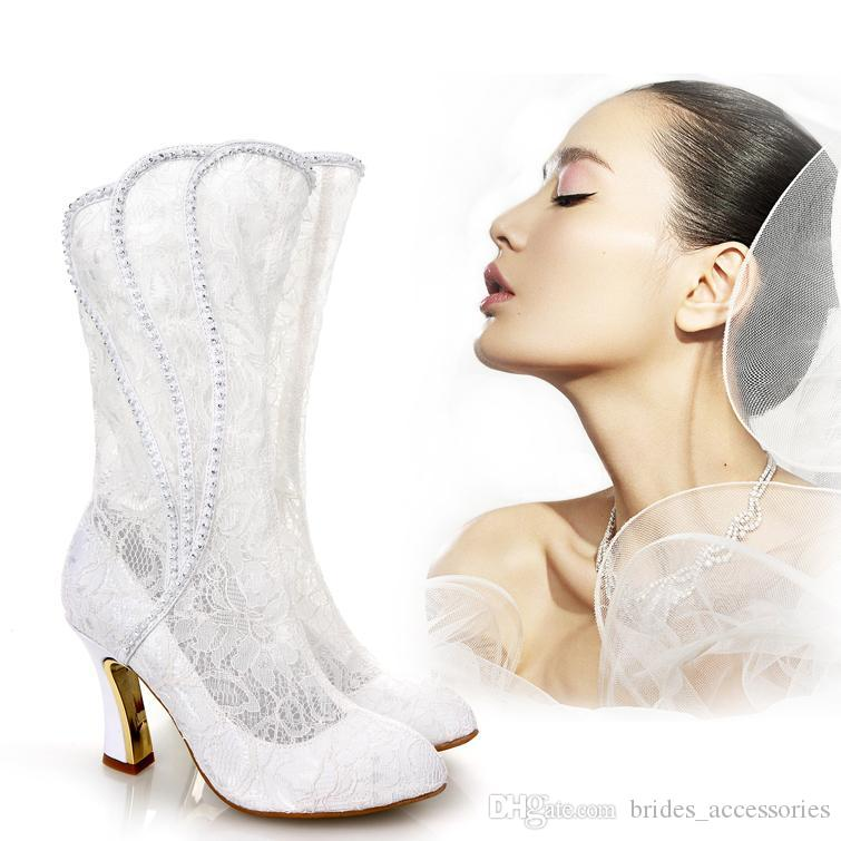 c52e85e954de2 White Lace Wedding Shoes Long Wedding Boots For Brides Bridal Accessories  High Heel Hollow Out Crystals Black Bridal Boots Women Autumn 2016