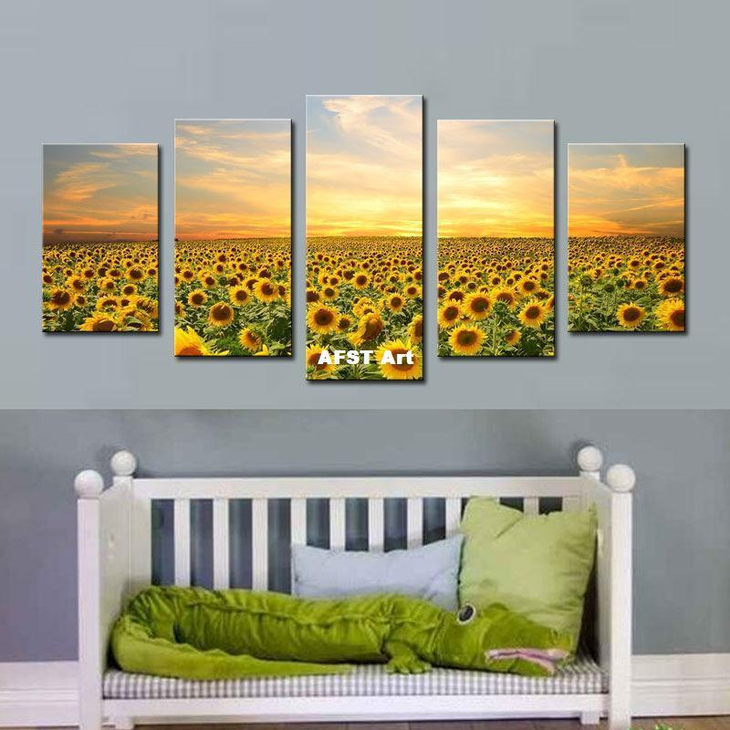 2018 5 Picture Combination Sunflower Painting Canvas Oil Paintings ...