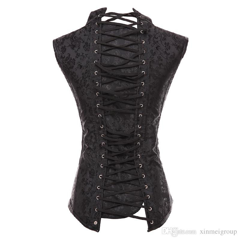 Plus Size 6XL Waist Trainer Vest Corset Gothic Vintage Steampunk Steel Bone Corselet Bustiers Underbust Korsett for Women W58911