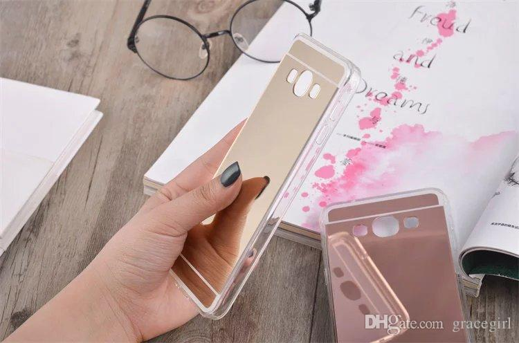 Bling Mirror Glitter Plating Soft TPU PC phone Case For Samsung Galaxy S4 S5 NOTE3 NOTE4 NOTE5 Grand Prime G530 A8 Skin Cover Luxury
