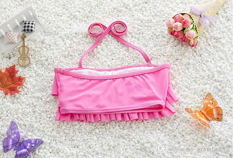 Hot New Kids Girls Two-Pieces Swimsuit Lovely Dots Underwear and Cake Bra Baby Girl Bikini Cute
