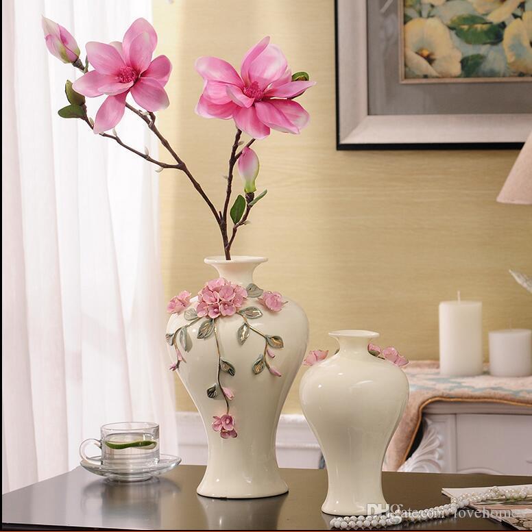 Bouteille moderne forme blanc couleur deux tailles vase en céramique en céramique vase de table pour la maison hôtel Ofiice Club Decor LH22