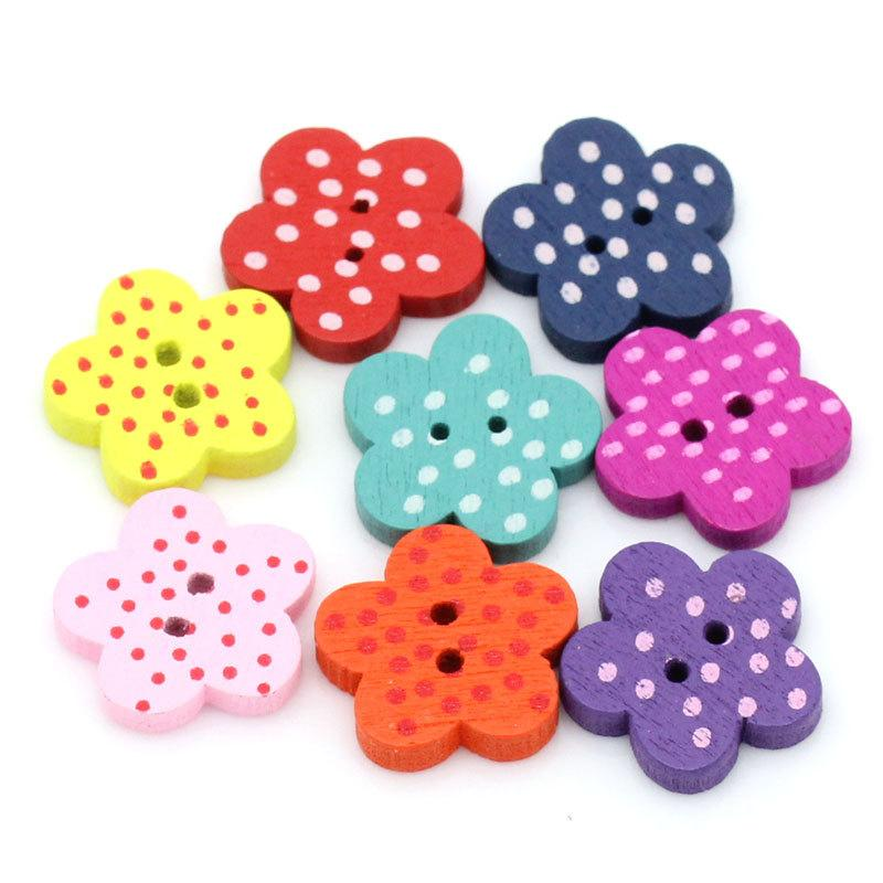 2018 Wholesale Hot Sell Painted Flower Shape Two Holes Wooden Button