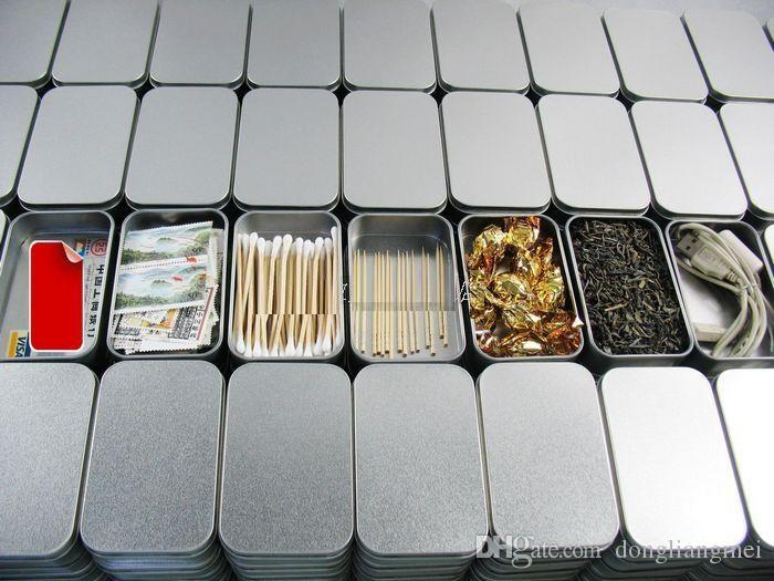 new Tin Container Storage Box Metal rectangle for tea beads business card candy herbs Organization bins Case 9.4* 5.9*2.1cm Sliver y256