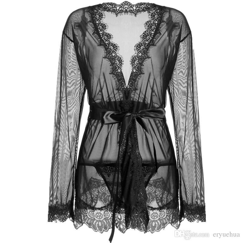 Mulheres Pijamas Sexy Lingerie Pijamas Transparente Sheer Lace Kimono Robe Intimate Night Gown Feminino Robe Plus Size