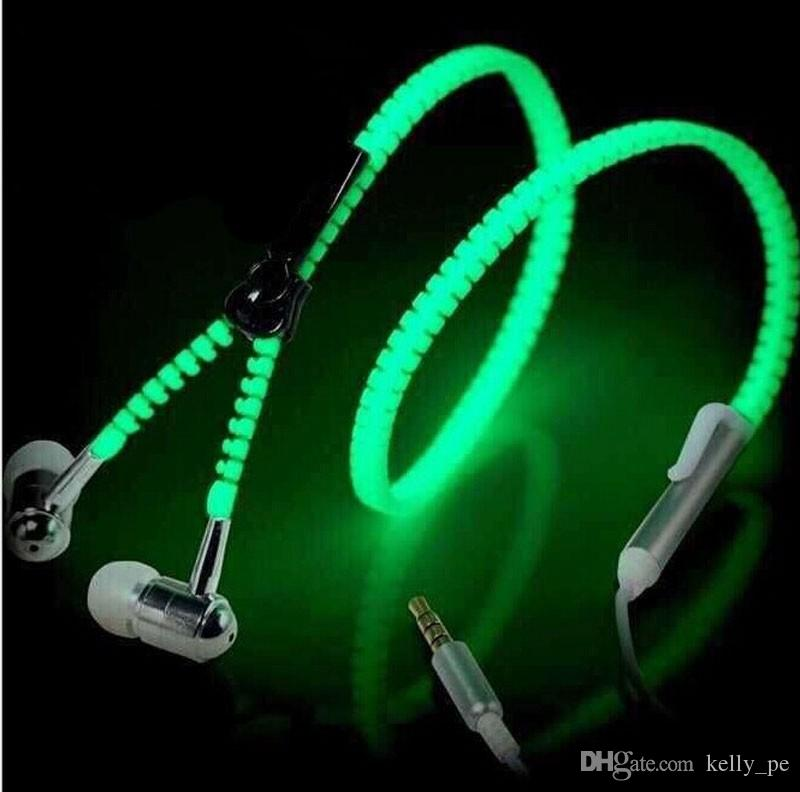 770857c2170 LED Zipper Earphone Luminous Light Up Headset Lighting In Ear Headphone  With Mic For PC Laptop MP3 MP4 Samsung IPhone Best Running Headphones  Bluetooth ...