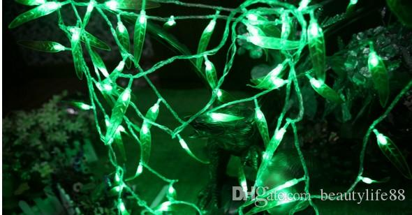 Санта-Клаус Рождественская Свадьба Ресторан Отель Зеленый Фон Света 300LED Ивы Занавес Свет Лист Стиль Свет