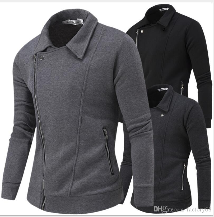 2016 Spring new men's winter coat solid color casual fashion design and more oblique zipper sweater cultivating wild open lining men jacket