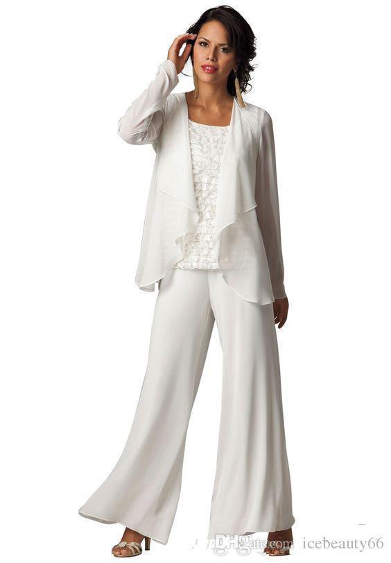 Ivory Elegant Chiffon Plus Size Tiered Ruffled Pant Suit Set 2017 ...