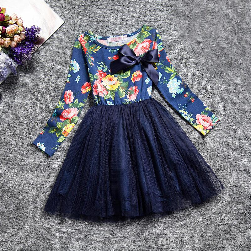 6a021c059a72 2019 Autumn Kids Dress Baby Girl Cotton Long Sleeve Tutu Dress Floral Dress  Brown Blue From Choicegoods521