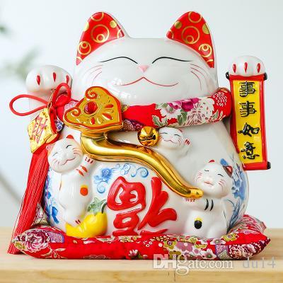 Lucky Cat Japanese Les grands ornements de chat Céramique Piggy Tirelire Japon