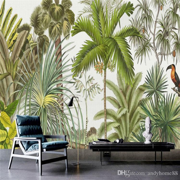 Retro Tropical Rain Forest Wallpaper Southeast Asia Plant Dead Tree - Custom murals from photos
