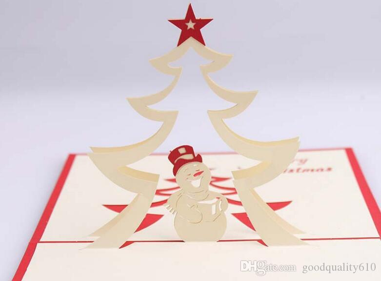 Snowman Star Handmade Kirigami Origami 3D Pop UP Greeting Cards Invitation Postcard For Birthday Christmas Party Gift