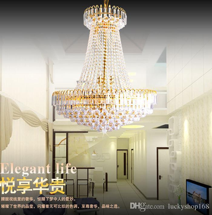 Fabrika fiyatı!!! Ucuz Yeni Royal Empire Altın Kristal avize Işık Fransız Kristal Tavan Kolye Işıkları DHL Hızlı Kargo