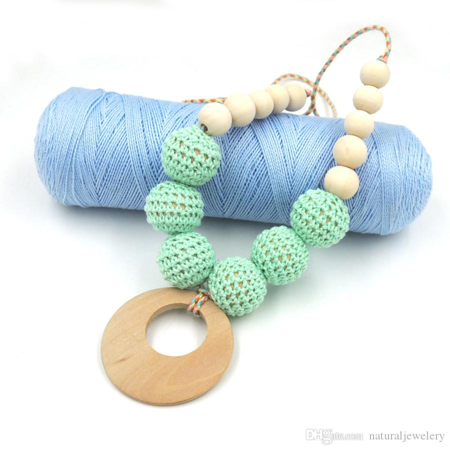 Hot sale Teal color crochet beads Organic Teething necklace wooden beads, Breastfeeding Nursing mom necklace EN26