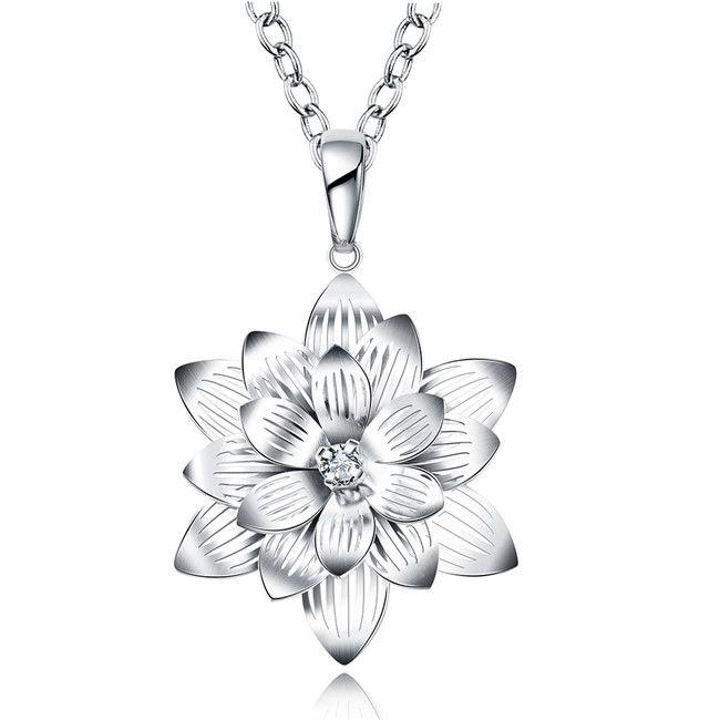 Новый женский цветок лотоса форма кулон ожерелье белый драгоценный камень стерлингового серебра покрытием ожерелье STSN735, горячие продажи мода 925 Серебряное ожерелье
