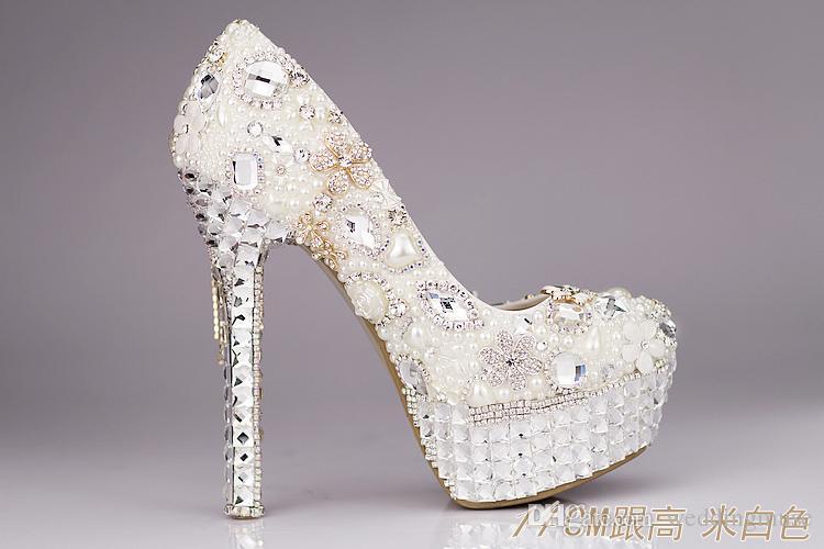 جديد 2021 أحذية الزفاف الفاخرة بريق الترتر اللؤلؤ القوس حزب رسمي تألق واحد الماس الزفاف أحذية عالية الكعب EM01432