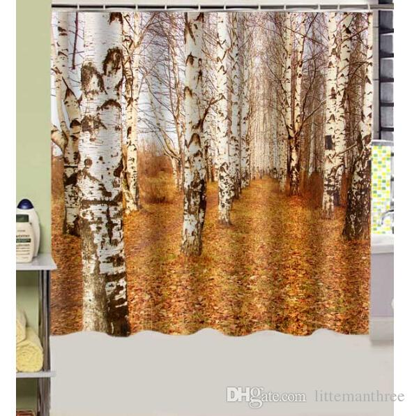 2018 Autumn Birch Trunk Tree Design Shower Curtain Size 180 X Cm Custom Waterproof Polyester Fabric Bath Curtains From Littemanthree