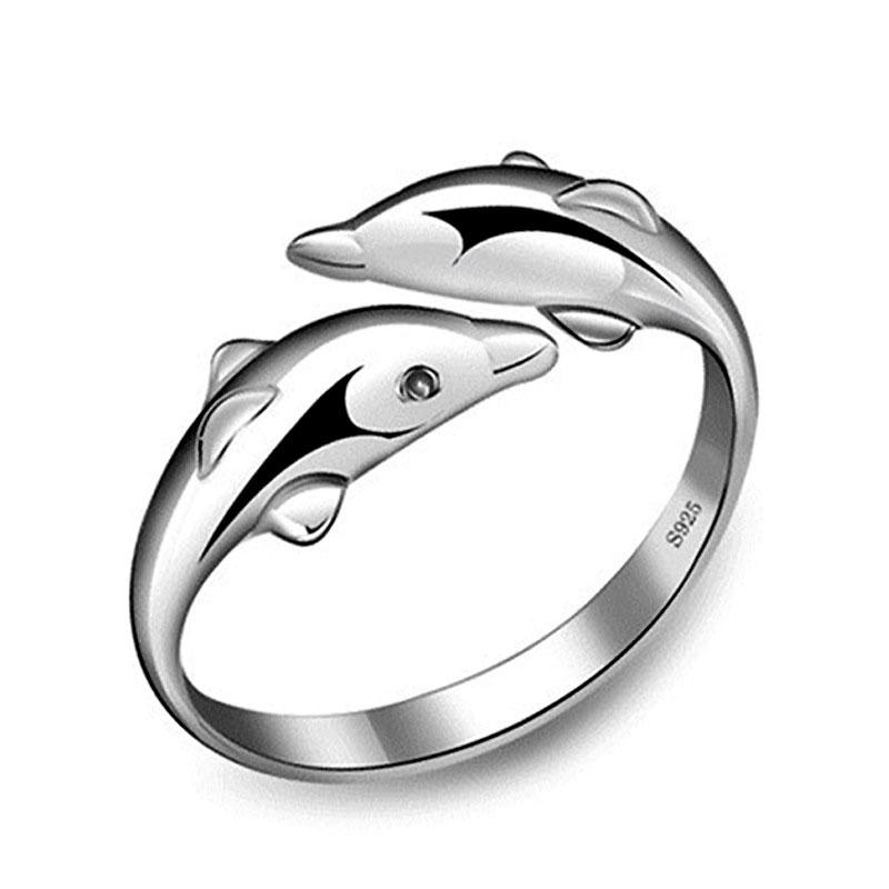 925 Sterling Silver Jewelry Rings Dolphins Of The Angel Love Heart Nail Opening Adjustable Ring For Women