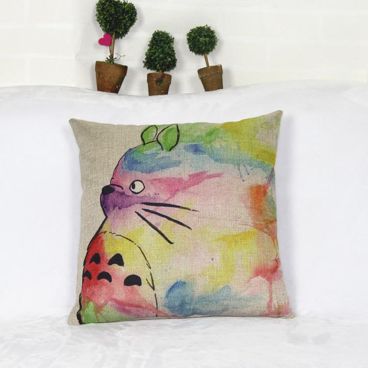Home Cute Totoro Printed Cotton Linen Waist Throw Pillow Case Pillow Cover Cushion
