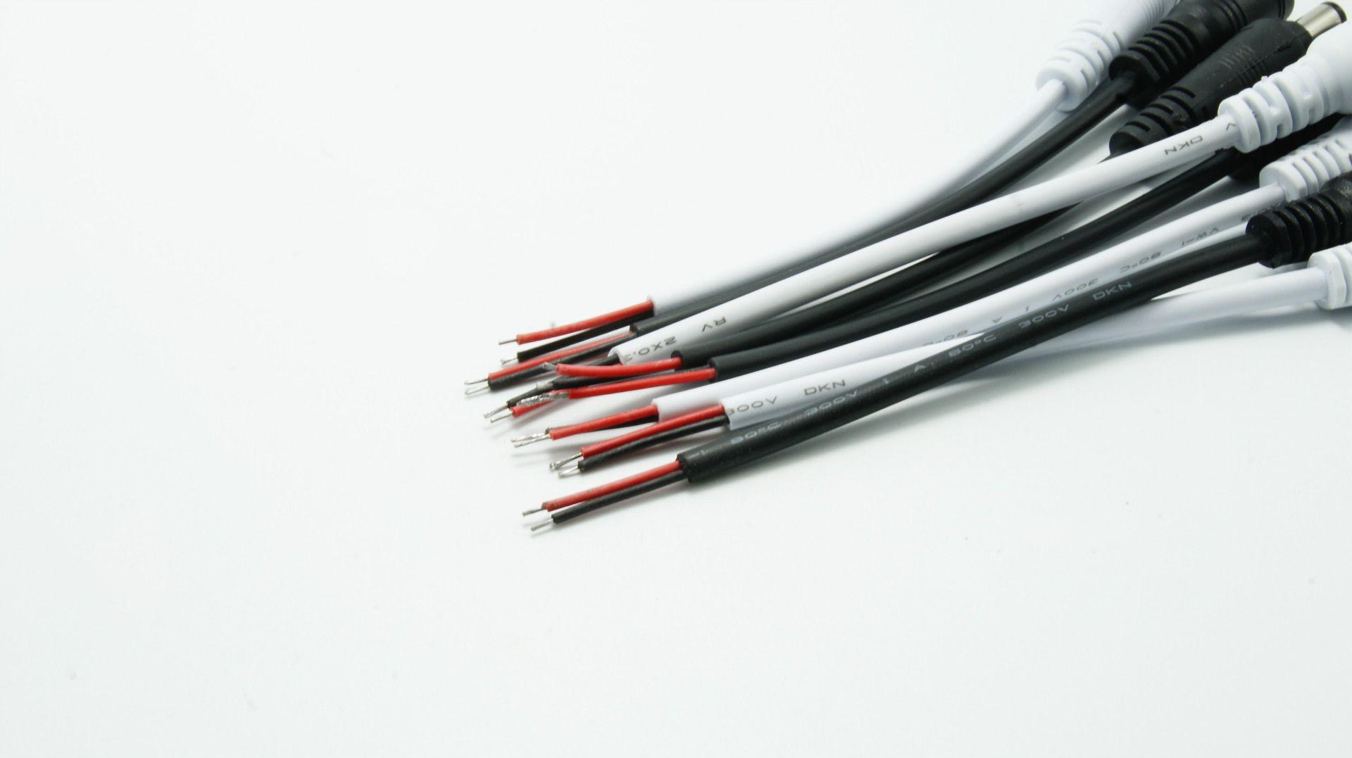 Conector de cable de CC, enchufe de 15 cm para luces LED y tira de LED Conector de línea de alimentación de 5.5mmx2.1mm + Bloqueo