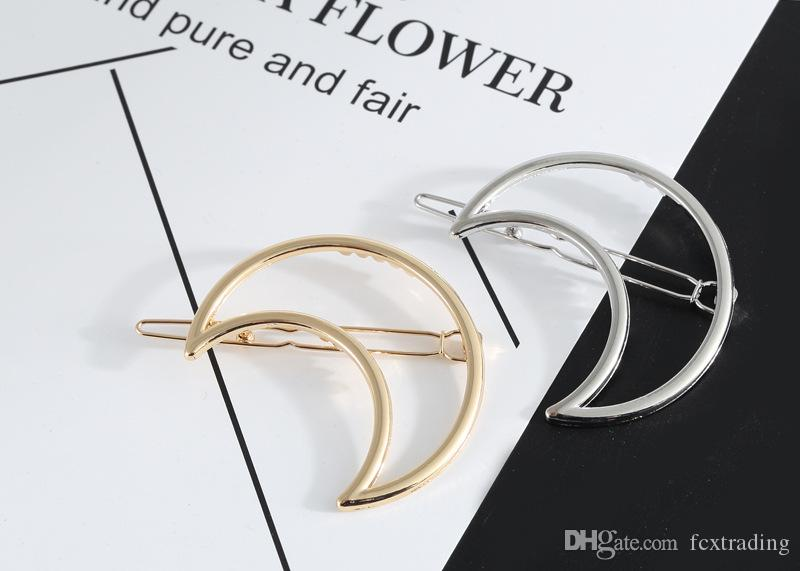 New Promotion Trendy Vintage Circle Lip Moon Triangle Hair Pin Clip Hairpin Pretty Womens Girls Gift Metal Wedding Jewelry Accessories