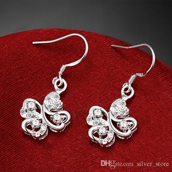 High grade flower fashion 925 earrings STPE016B,Best gift full gemstone women's sterling silver Dangle Chandelier earrings