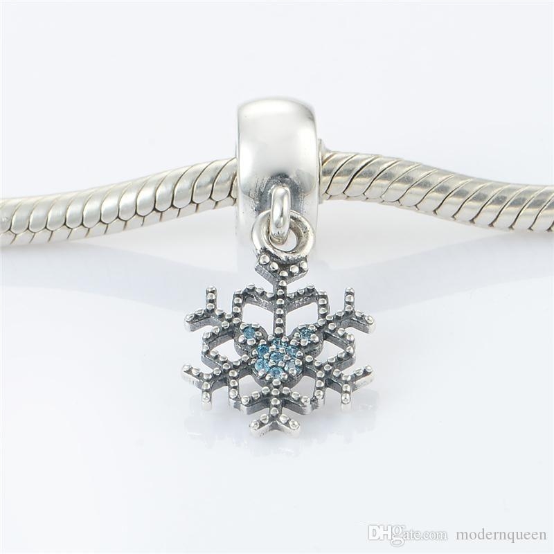 Christmas snowflake charms S925 sterling silver jewelry fits for pandora bracelets antique ale LW482H6