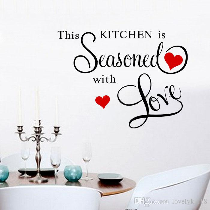 Red Heart Kitchen Seasoned Love Removable Wall Sticker Wallpaper Wall  Decals Home Kitchen Furniture Wall Decoration Wall Stickers Wall Stickers  And Decals ... Part 81